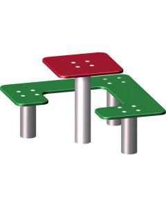 Pöytä ja penkki, neliö