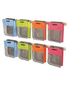 Maxipakkaus: 8 laukkua ja seinätelineet