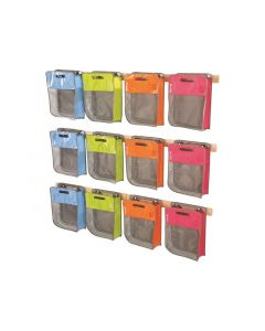 Maxipakkaus: 12 laukkua ja seinätelineet
